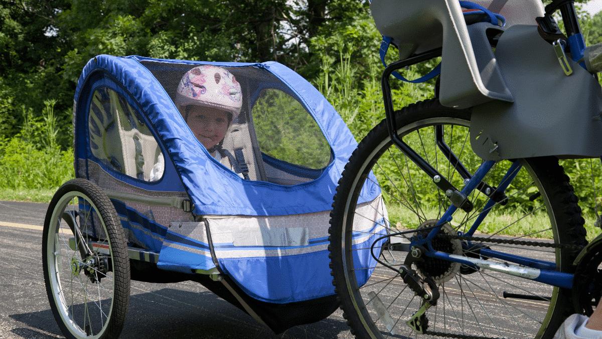 blue child bike trailer